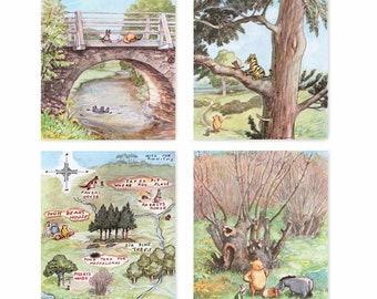 "Classic Winnie the Pooh Nursery Prints (Girls Decor, Boys Room Wall Art, 100 Acre Woods Baby Shower Gift) ""Winnie Has Fun"" -- Set of 4 SALE"