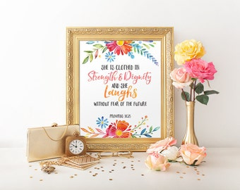 Baby shower gift, Scripture Printable, Nursery, Proverbs 31:25 She is clothed with strength and dignity, Instant Download, Watercolor, C047