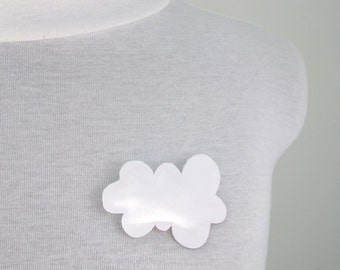 white leather cloud brooch - puffy leather brooch - cloud brooch - lightweight brooch  - sky - cloud - white leather - minimal brooch
