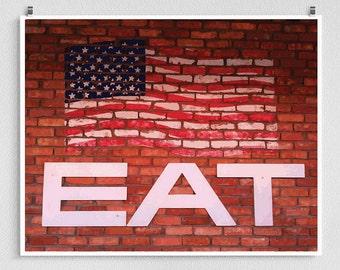Vintage EAT American Flag Print, Kitchen Wall Art Americana Print Signage Photography Pop Art Photo Brick Wall Sign Fine Art Photo Print