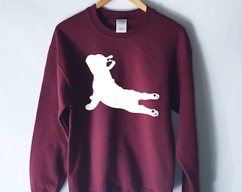 French Bulldog Yoga Pose Sweatshirt - Yoga Sweater - Yoga Shirt - Fitness - Namaste In Bed - Yoga Sweatshirt