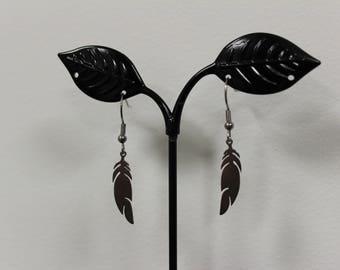 Steel feather earrings