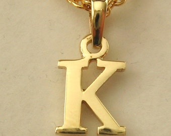 Genuine SOLID 9K 9ct YELLOW GOLD 3D Initial K Letter Pendant