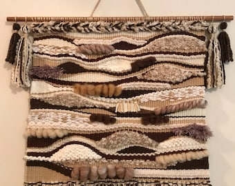 Earth tone tapestry weaving wall hanging