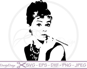 Audrey Hepburn silhoutte SVG files, dxf files Audrey Hepburn, eps files, SVG files cricut, Cutouts, Clip Art, cutting files, Vector Graphics