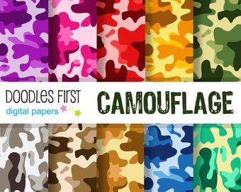 Camouflage Digital Paper Pack Includes 10 for Scrapbooking Paper Crafts