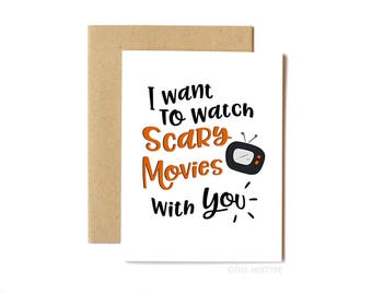 Halloween Card, Valentine's Day Card, Friend Card, Card for Husband, Card for Wife, Just Because - Scary Movies