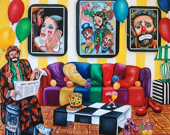 Clown Print, Interior, Living room, Sofa, Balloons Clown Art, Fine Art Print, Home Decor Art,