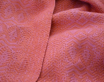 Handwoven Coral and Rose Scarf,  Long Bamboo Scarf