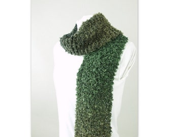 Green Unisex Scarf, Hand Knit Olive Black Ombre Muffler