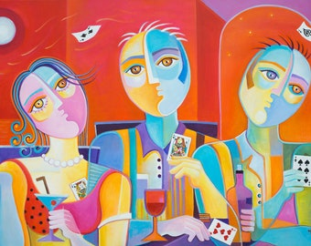 Cubism Acrylic Painting Poker Marlina Vera Fine Art Modern Picasso style Playing cards Pop Artwork casino players gambler Cubist modernism