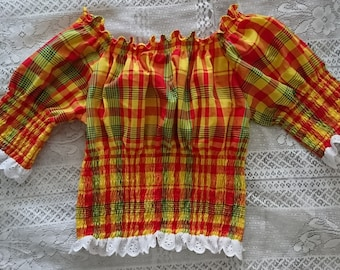 Woman madras and smocked bodice