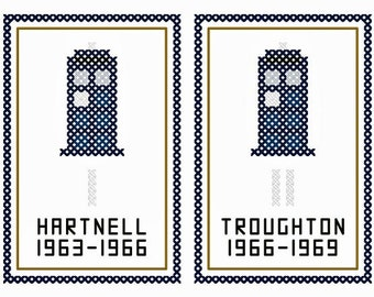 Twelve Doctors - Set of Twelve Original Cross Stitch Ornament Charts | Inspired by Doctor Who (50th Anniversary)