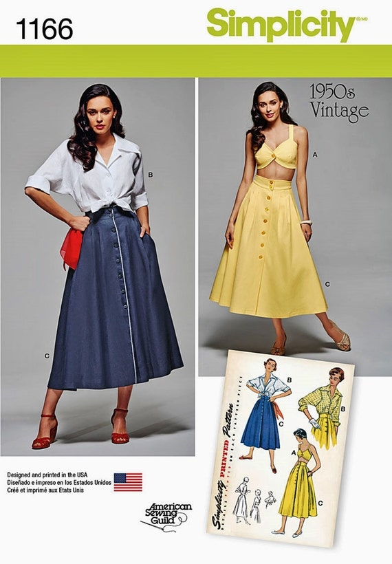 Sewing Pattern Women's Vintage Button Front Skirt and