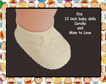 Vintage Cream Rubber Shoes for 12 inch baby doll, Mine to Love 12, Corolle Calin 12 inch