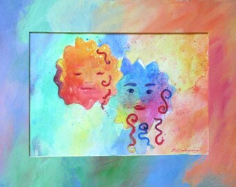 Original Watercolor * TWO SUNS * Art By Rodriguez * With Custom Painted Mat * Wall Hanging