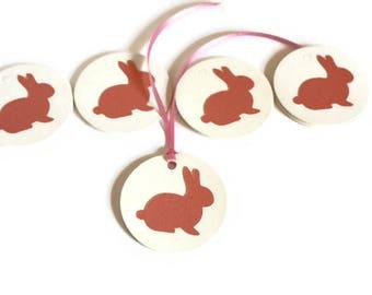 Bunny gift tags, Bunny rabbit, Easter gift tags, White Gift Tags, Pink bunny gift tags, Pink, Easter bunny gift tags, Gift Tags, Set of 12