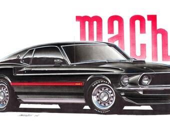1969 Ford Mustang Mach 1 12x24 inch Art Print by Jim Gerdom