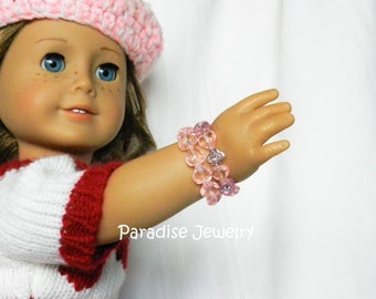 18 inch American Doll, Pink Heart Jewelry, Bead Doll Bracelets, American Girl, Pink Heart Gift Set, Jewelry Set, Doll Size, Child Size