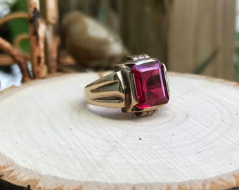1940's Art Deco 6 carat Emerald Cut Synthetic Ruby Ring set in a Bazel 10k Gold Setting Size 10