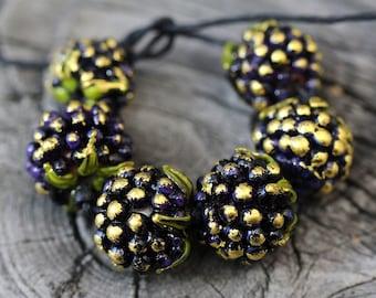 Lampwork beads blackberry, Lampwork Glass Beads, Handmade Glass Berry Beads, Glass beads, Lampwork berry beads, Glass blackberry beads SRA