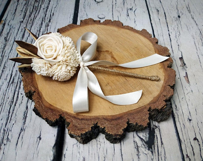 Flowergirl wand cream rustic wedding Ivory Flowers, linen cord handle, Flower girl, Bridesmaids, sola roses vintage wedding brown custom
