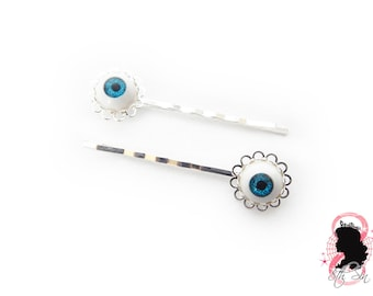 Antique Silver Eyeball Hair Slides, Evil Eye Hair Slides, Doll Eye Hair Slides, BJD Eye Hair Slides, Eyeball Hair Grips, Eye Hair Grips