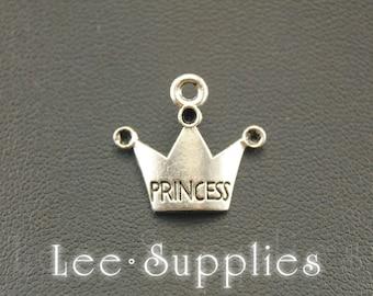 50pcs Antique Silver Princess Crown Charms Pendant A819