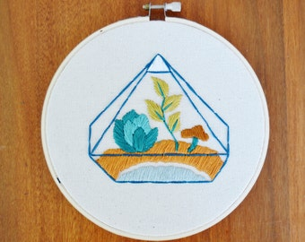 Living Terrarium  Embroidered Wall Hanging Hoop