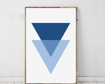 Geometric Triangle Art Blue Minimalist, Wall Art, Home Decor, Printable Art, Downloadable Art Print