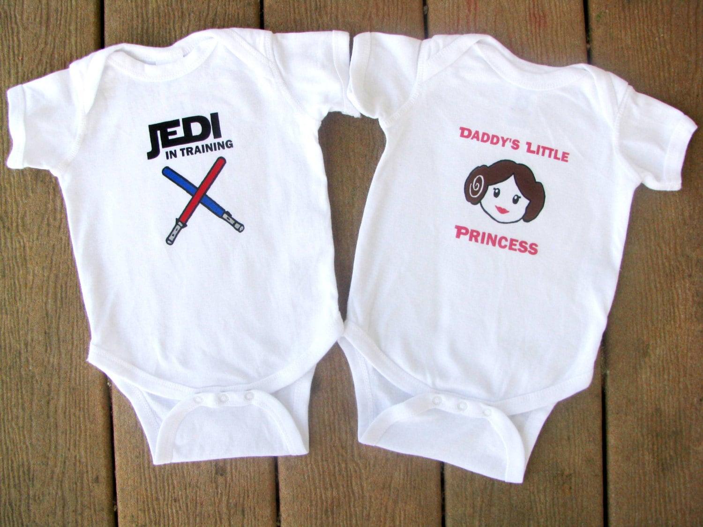Star Wars Luke and Leia Baby Twin Bodysuit set Custom Names
