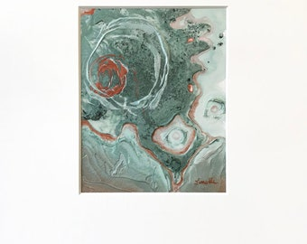 Abstract Circles Plaster Painting in Metallic Teal and Copper and White with Acid-Free White Mat - Original Acrylic Art on Panel with Mat