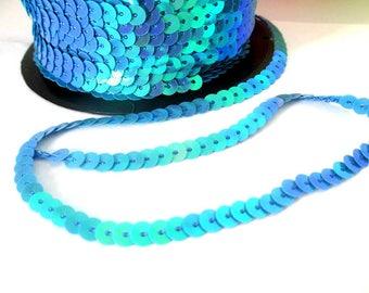 5 m Ribbon 6mm blue sequin trim