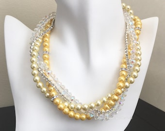 Bridesmaid Gift Shades of Yellow Necklace Pearl Necklace Multistrand Necklace Chunky Bridesmaid Necklace Wedding Jewelry Gift for Mother