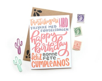 Birthday Multi Language Card | Original Calligraphy Brush Lettering Happy Birthday Italian French Spanish A2 Card