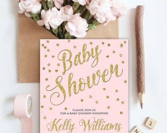 Pink and gold baby shower invitation, Baby shower invitation girl pink and gold, Glitter baby shower invitation, Gold confetti baby shower