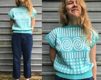 80s-90s turquoise & white swirl knit sweater tee