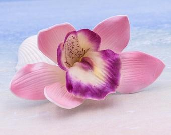 Pink Orchid Hair Clip, 3 Inch,    Floral Hair Clip,   Wedding Hair Clip