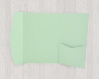 10 Large Vertical Pocket Enclosures - Mint & Light Green - DIY Invitations - Invitation Enclosures for Weddings and Other Events