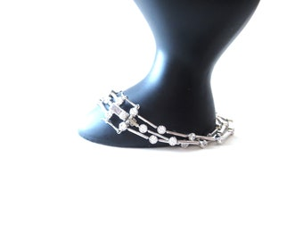 Gorgeous Vintage Marked SW925CZ China Triple Strand Sterling Silver & Clear Cubic Zirconia CZ Wedding / Prom / Homecoming Bracelet
