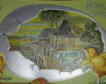 Sale-Vintage Easter Chicks Postcard-Cottage