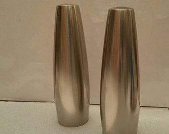"Mid Century Modern ""Dansk Designs Denmark"" Stainless steel Salt and Pepper table shakers"