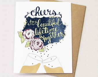 Cheers Card - to a beautiful lifetime together, anniversary card, wedding card, blank inside