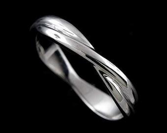 Double Twisted Wedding Band, Infinity Wedding Ring, Intertwining Wedding Ring, Braided Band 3.5mm, Gold Love Knot Eternity Wedding Ring