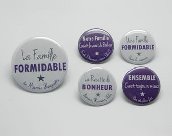 1 magnet 56 mm + 4 magnets 37mm customizable - the great family - gray and plum