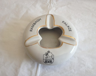 Vintage Ceramic Ashtray from the Rambagh Palace Hotel in Jaipur India ~ Made by K.M. Ceramics Studioware India