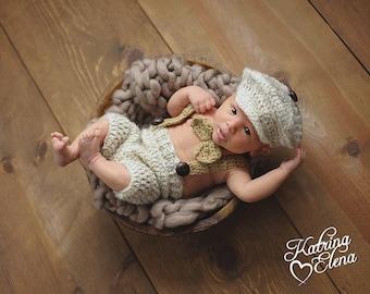 Newborn Little Man Suit,Baby Boy Photo Prop, Vintage Inspired Newborn Prop,1920s Newsboy,Newborn Photo Prop, Crochet Short and Suspenders