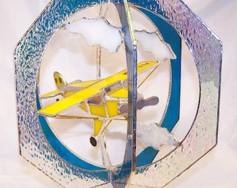 Piper Airplane Stained Glass Suncatcher