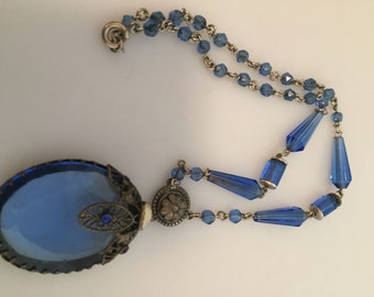 ART DECO Necklace Czech Glass Necklace 1920s Vintage Brass and Glass Blue Glass Deco Necklace Czech Necklace Silver FILIGREE Blister Pearl