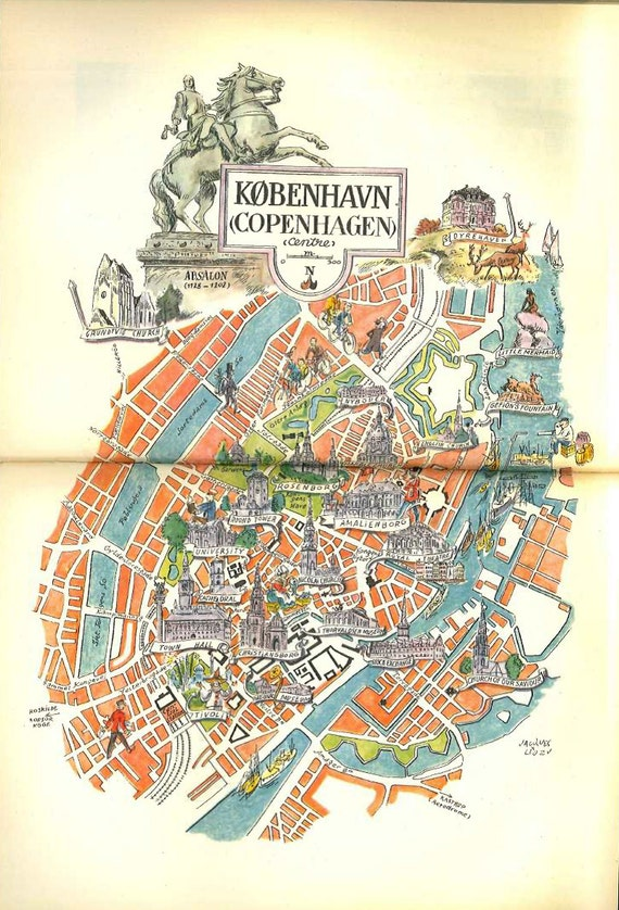 Copenhagen map art vintage map print city map of like this item gumiabroncs Image collections